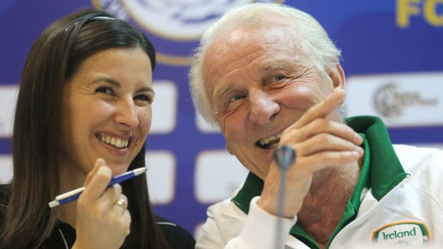 Manuela Spinelli, an interpreter who translated for Giovanni Trapattoni, lives in Dublin but travelled home to Italy to be with her parents. She says she feels stuck in a situation where she 'cannot get back'. File photograph: Lorraine O'Sullivan/Inpho